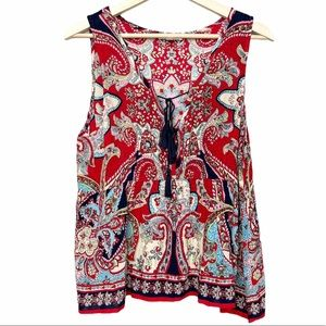 Patrons of Peace Red Paisley V-Neck Tank Top L